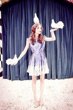 """Rasa Zukauskaite in """"Magical Mystery Tour"""" by Ellen von Unwerth for Lula Magazine #13, Fall 2011"""