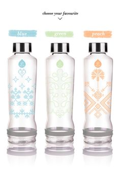 lavivavera for equa {limited edition} eco-friendly water bottles Eco Friendly Water Bottles, Cute Water Bottles, Best Water Bottle, Water Bottle Design, Glass Bottles, Yogurt Packaging, Bottle Packaging, Packaging Design, Blue Green