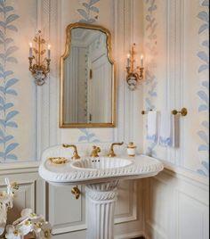 Dream Bathrooms, Beautiful Bathrooms, Small Bathroom, White Bathroom, Bathroom Ideas, Powder Room Decor, Powder Room Design, Powder Rooms, Bathroom Interior Design