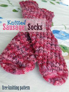 Sausage socks, free knitting pattern.