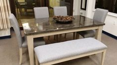 A dining room set with a bench for extra seating! $743.00