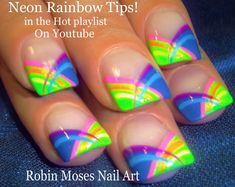 Nail Art Tutorial | DIY Neon Rainbow Stripe Nails | Short Summer Nail De...