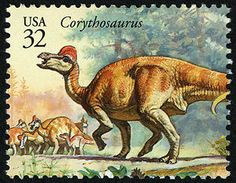 Corythosaurus, a duck-billed dinosaur, had long nasal passages that passed up into the bill and were ideal for the amplification of any vocalizations it might have made. Copyright United States Postal Service. All rights reserved.