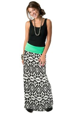 Karlie Women's Green Foldover with Black and White Aztec Long Maxi Skirt