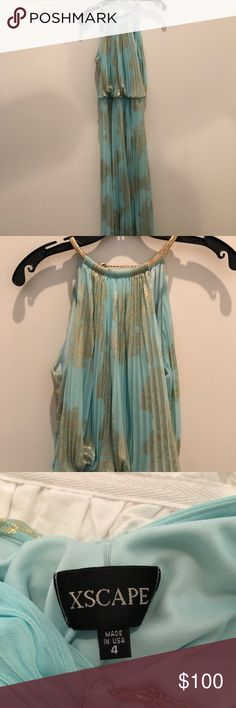 Xscape teal and gold formal prom dress, size 4 Floor length, teal and gold, flowy, size 4, sinched at waist Xscape Dresses Prom