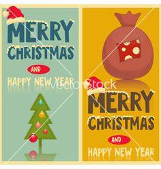 Retro christmas greeting cards vector by elfivetrov on VectorStock®