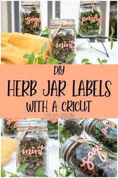 How to Make DIY Herb Jar Labels with a Cricut Joy via @lydioutloud Mason Jar Herbs, Mason Jars, Do It Yourself Organization, Diy Organization, Organizing Ideas, Herb Labels, Cricut Tutorials, Cricut Ideas, How To Make Diy