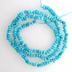 Real Sleeping Beauty Turquoise Chip Beads Blue 18 Inch Strand