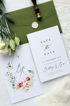 rustic chic green wedding invitations/ black and white wedding invitations/ olive leaf spring wedding invitations #weddinginvitation