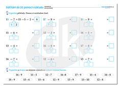 Odčítání do 20 s pomocí rozkladu   datakabinet.cz Bar Chart, Diagram, Map, Google, Location Map, Bar Graphs, Cards, Maps, Peta