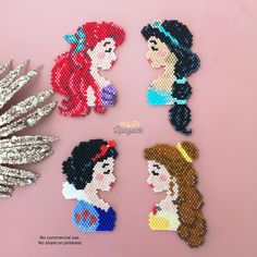Motifs Perler, Perler Patterns, Peyote Patterns, Beading Patterns, Disney Hama Beads Pattern, Diy Perler Beads, Perler Bead Art, Seed Bead Patterns, Jewelry Patterns