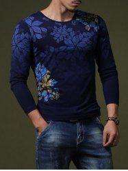 Flor elegantes del estampado de ajuste delgado cuello redondo de manga larga de la camiseta para los hombres