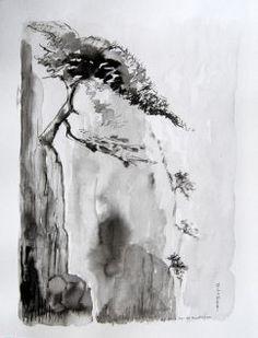 Tableaux feng shui bureau : Tableaux peinture zen à l'encre noire sumi-e de l'artiste ELLHËA