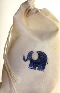 Blue Elephant Stamped Gift Bag, Set of 10 Bags, Premium Cotton Muslin Bags, 4x6 Gift Bags, Baby Shower GIft Bags, Birthday Party Bags