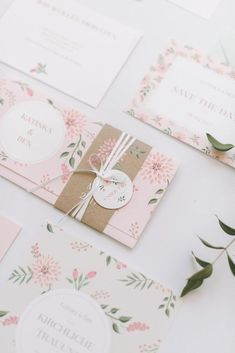 rustic chic blush oink wedding invitations/ floral wedding invitations