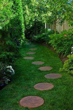 44 Incredible Garden Pathways Design Ideas - #Gardenpath Garden Arbor, Garden Paths, Garden Landscaping, Garden Ideas Pathways, Garden Slabs, Pathway Ideas, Backyard Shade, Shade Garden, Garden Stepping Stones