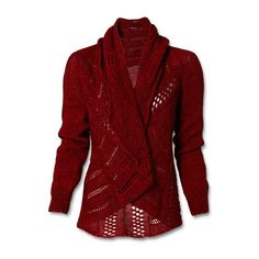 Cardigan (115 AUD) ❤ liked on Polyvore featuring tops, cardigans, sweaters, jackets, outerwear, red cardigan, red top and cardigan top