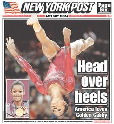Gold Medalist Gabby Douglas on the front page of the New York Post, published in New York, New York USA