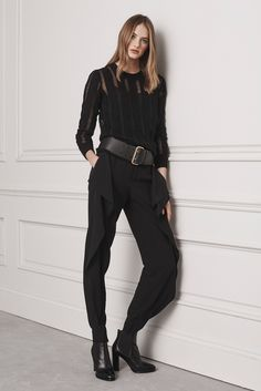 Ralph Lauren | Pre-Fall 2016 | 26 Black long sleeve sweater and ruffled trousers