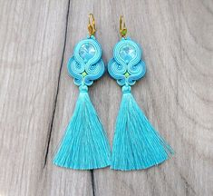 Tassel Earrings, Long Dangle Earrings, Mint  Soutache Earrings, Fringe Earrings, Mint and Turquoise, Long Earrings, Handmade Earrings