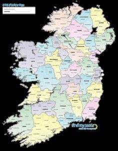 Irish Registration Districts Map: