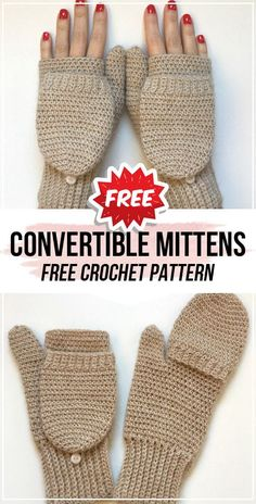 crochet Convertible Crochet Mittens free pattern - easy crochet mittens pattern for beginners The Effective Pictures We Offer You About crochet patterns purse A quality picture can tell you many thing Crochet Mittens Free Pattern, Fingerless Gloves Crochet Pattern, Fingerless Mittens, Free Crochet, Knit Crochet, Crotchet, Free Easy Crochet Patterns, Crochet Accessories Free Pattern, Easy Crochet Slippers