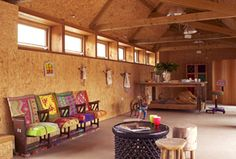 OSB clad Art Gallery and workshop - Somerset, UK © O2i Design Limited   All rights reserved #renovationproject #barnconversion #lowcarbonliving #o2idesign