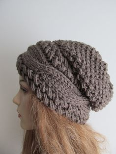 Slouchy Beanie Cable sombreros del Slouch de madera botón