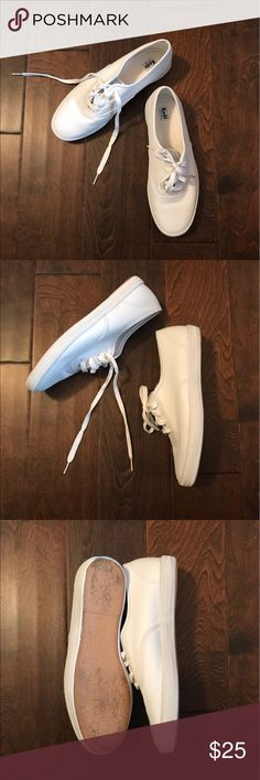 White Keds White Keds only worn inside once for a costume. Look brand new except for light mark on soles. No scuffs or marks! Keds Shoes Sneakers