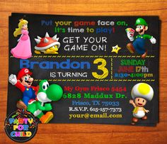 SUPER MARIO BROS Super invitación de Mario por PartyForChild Super Mario Birthday, Mario Birthday Party, 10th Birthday Parties, Super Mario Bros, Birthday Party Invitations, 4th Birthday, Mario Party, Mario Bros., Elmo