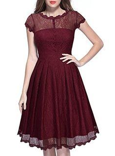MIUSOL Estivi Vintage Donna Vestito Pizzo Casual Cerimonia Manica Corta Vestiti Rosso Large