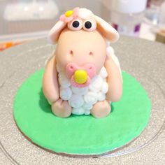 Lamb with pacifier fondant cake topper - Christening Cake