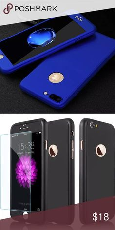 Blue NEW iPhone 7 full coverage case Super cute ☀️ full body protection ☀️ BLUE in color and comes with☀️ a glass screen protector ☀️ Accessories Phone Cases