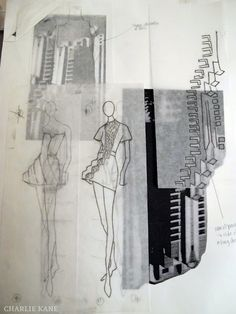 Fashion Sketchbook - fashion design drawings inspired by architecture; fashion student portfolio