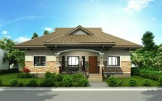 Pinoy House Design 2015002 is a one storey house design with a floor area of 148 m². An elegant entry enhances an inviting front porch on this traditional design. Beautiful Small Homes, Beautiful House Plans, Modern Bungalow House Design, Small House Design, Philippines House Design, Bungalow Floor Plans, One Storey House, Philippine Houses, Three Bedroom House Plan