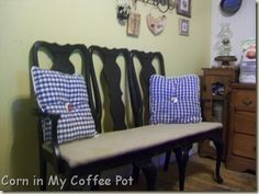 LOVE this! Old chairs into a bench.