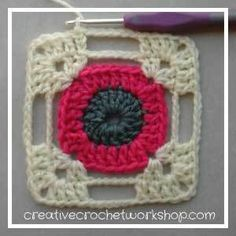 Crochet Square Pattern This Dragonfly Granny Square is the Afghan Block in the Crochet A Block Afghan 2017 Crochet Along! Crochet Blocks, Granny Square Crochet Pattern, Crochet Squares, Crochet Motif, Crochet Designs, Crochet Stitches, Crochet Patterns, Granny Squares, Crochet Borders