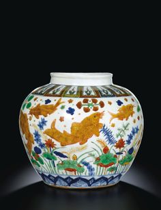 A Magnificient and Rare wucai 'Fish' Jar, Mark and period of Jiajing Ceramic Fish, Ceramic Pots, Chinese Figurines, Oriental, Color Glaze, Chinese Ceramics, Ginger Jars, Chinese Antiques, China Porcelain