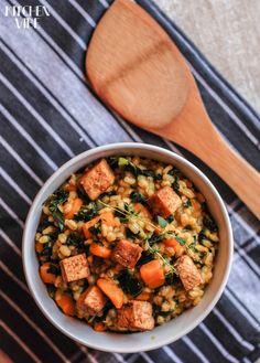 pear barley with pumpkin, kale and fried tofu