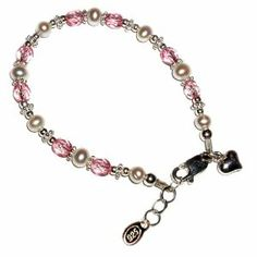 """Sterling Silver Children's Jewelry Bracelet for Girls with Pearls & Pink Crystal with Heart Charm in Gift Box, 6-11 years (6 - 6.5"""" adjustable) Tiny Treasures. $27.00"""