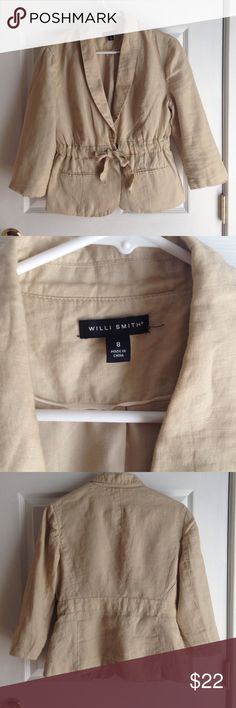 Willi Smith Draw String Blazer Tan colored Willi Smith 100% linen blazer.  Machine washable.  So cute. Willi Smith Jackets & Coats Blazers