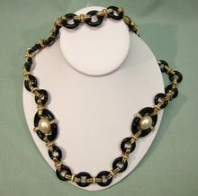 Ciner Black Glass Faux Pearl Rhinestone Necklace available from Cobayley on Ruby Lane