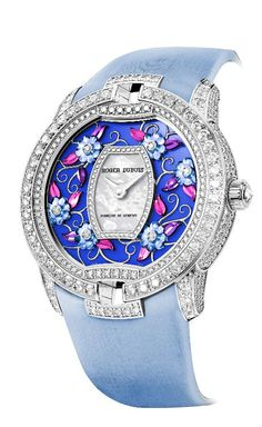 Diamond Watches Ideas : Illustration Description Roger Dubuis Blossom Velvet watch in blue. Cute Watches, Cheap Watches, Elegant Watches, Beautiful Watches, Watches For Men, Women's Watches, Watches Online, Diamond Watches, Casual Watches