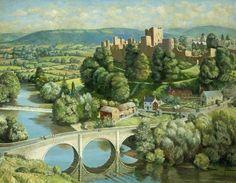 "Thomas Henslow Barnard, ""Landscape with Ludlow Castle"" (1952)"