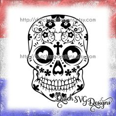 Sugar skull snijbestand, studio3 dxf JPG PNG SVG, instant download, Cricut & Silhouette, plotter, Dag van de Doden, doodskop, Day of Death door DutchSVGDesigns op Etsy