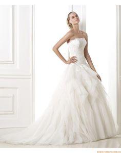 2015 Prinzessin A-linie Traumhafte Brautkleider aus Softnetz mit Schleppe
