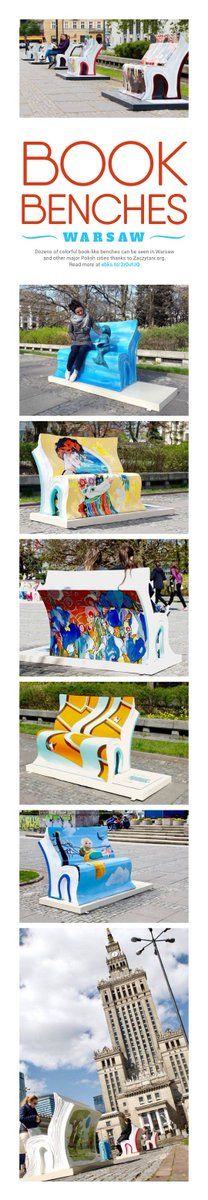 Book benches were set in Polish cities to promote reading
