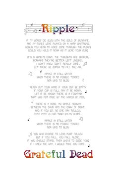 Lyrics Cross Stitch Pattern Grateful Dead by CowbellCrossStitch                                                                                                                                                                                 More