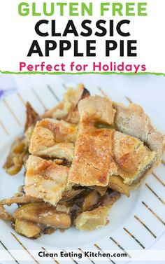 You're going to love this delicious Gluten-Free Apple Pie that is perfect for holidays and special occasions. It's a classic American dessert that everyone loves. This step-by-step guide shows you how to make a homemade pie from scratch. Gluten Free Apple Pie, Easy Gluten Free Desserts, Gluten Free Vegetarian Recipes, Free Recipes, Tart Recipes, Apple Recipes, Clean Eating Diet, Clean Eating Recipes, Healthy Chocolate