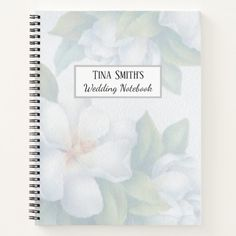 Minimalist floral design with subtle dogwood blossoms in the background  are on the cover of this wedding notebook. Personalize the front and  your favorite bride will never lose her notes. Great for preparing for  the wedding and keeping track of gifts and thank yous afterward. #zazzlemade #notebook #wedding #bridesmaidgift #weddingnotes #takingnotes #personalized Minimalist Wedding Invitations, Beautiful Wedding Invitations, Floral Wedding Invitations, Wedding Notes, Wedding Ideas, Wedding Notebook, Cricut Wedding, Wedding Planning Guide, Steampunk Wedding
